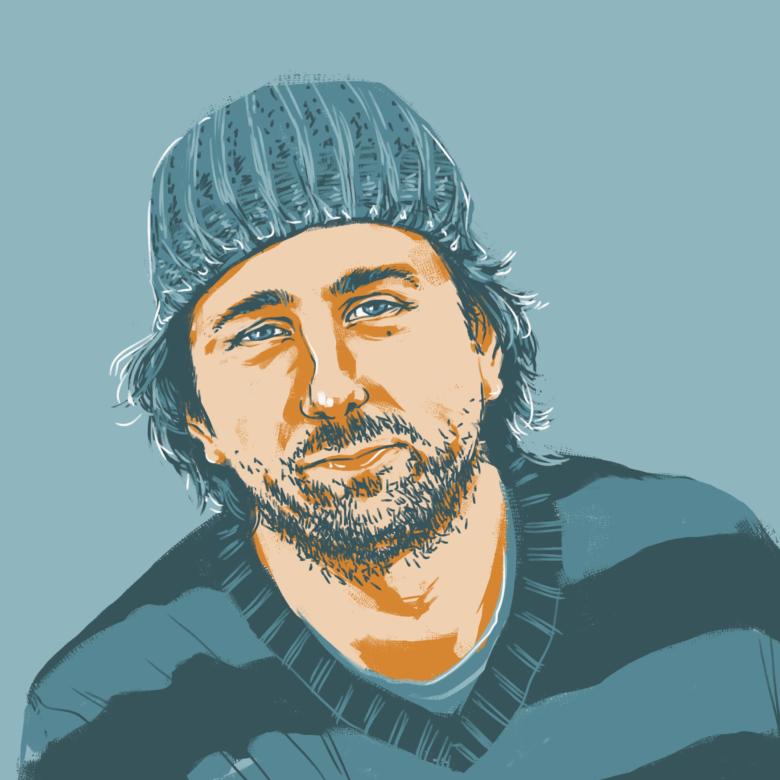 Portrait-Illustration. Uwe Feller, Bootsbauer und Diplom Designer.