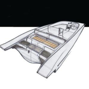 Auszug aus dem Voltage aero 1 Designsheet von FELLERyachting. Zeigt einen Entwurf.